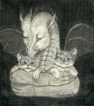 The dragon and two kittens
