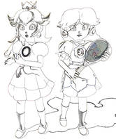 Peach+Daisy at the 2014 Tennis Tournament (Sketch) by Vinfreild