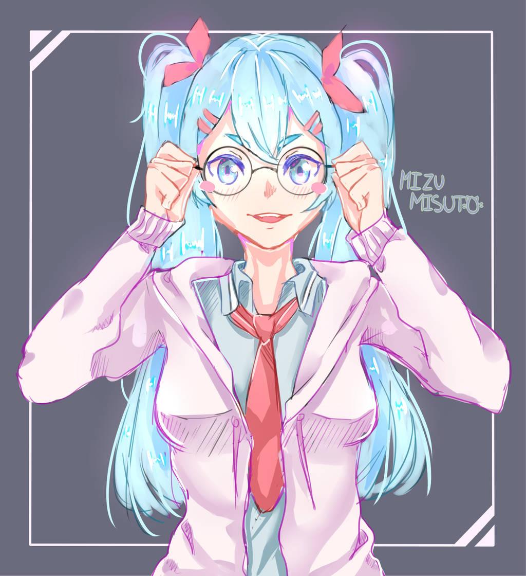 Miku with Glasses by MizuMisuto