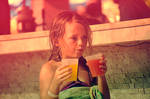 blond child and fruit juice