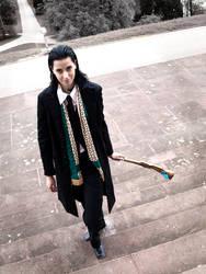 Loki Cosplay: Arrival in Stuttgart by Abessinier