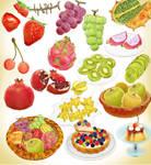 Random popular fruits and cake pack MMD Download