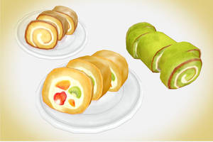 Swiss roll/ green tea roll MMD Download pack by Hack-Girl