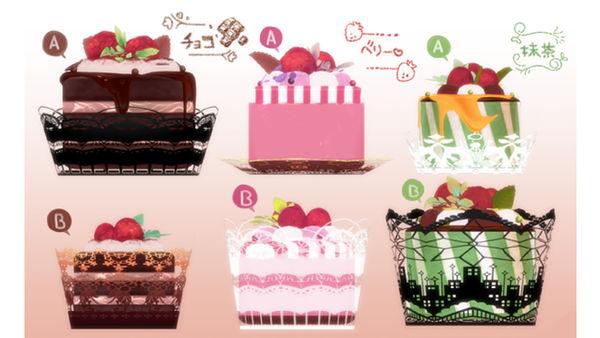 MMD Raspberry round cake set Download