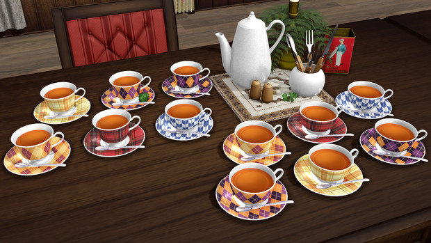 Tea cup and saucer set MMD download by Hack-Girl