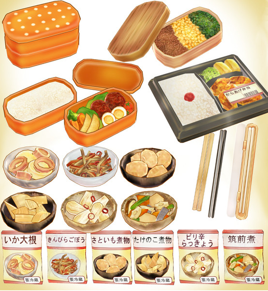 MMD Lunch box and prepared dish ver1.0 model dl by Hack-Girl