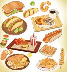 MMD fast food lunch set download model