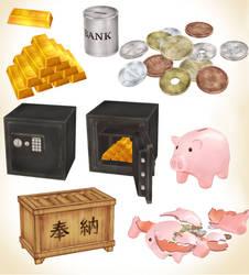 MMD Japanese piggy bank safe set Model download
