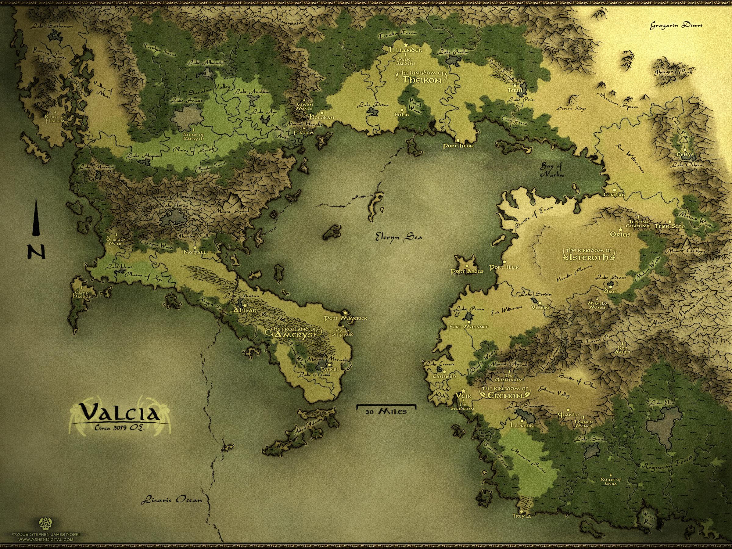 Valcia - Regional Fantasy Map by Authsauce