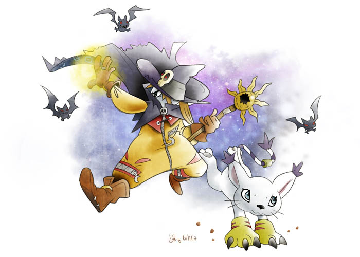 Wizardmon and Gatomon by hicodycod3s