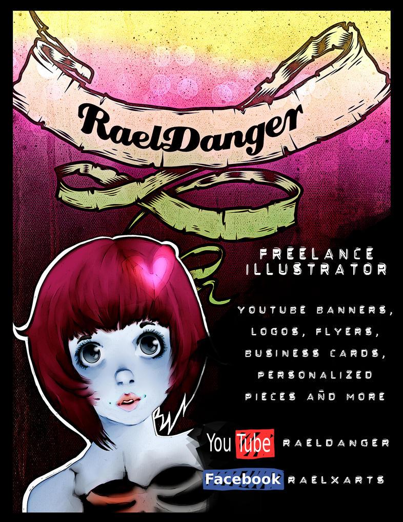 Freelance Illustrator and YouTuber Digital Flyer by RaelXArts