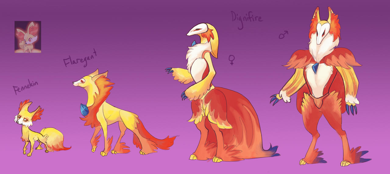 Pokemon X and Y- Fennekin and evolutions by TornAroundtheEdges