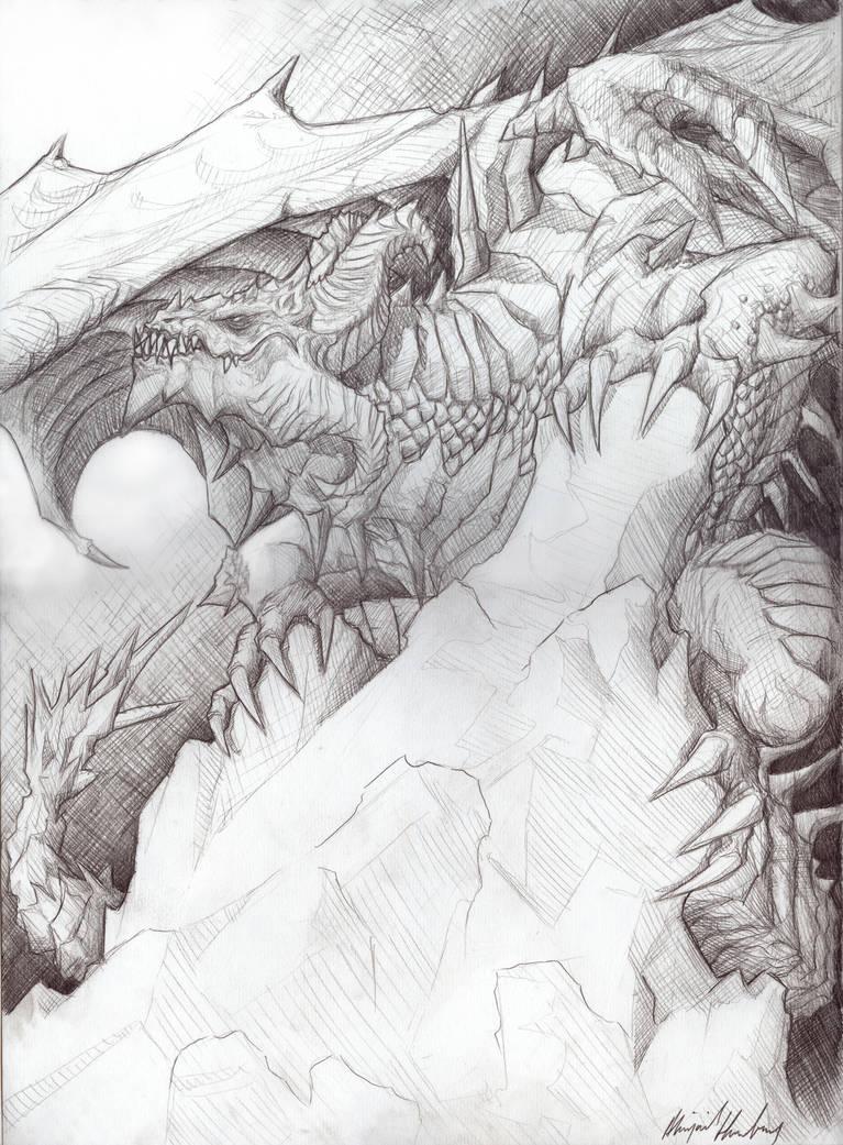 Pencil draw dragon by abz j harding