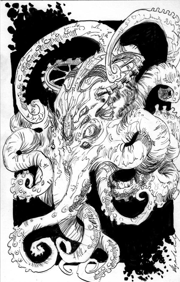 Inks : steampunk beastie by Abz-J-Harding