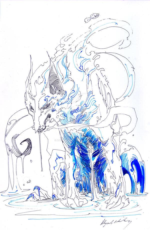 wolf sketch by Abz-J-Harding