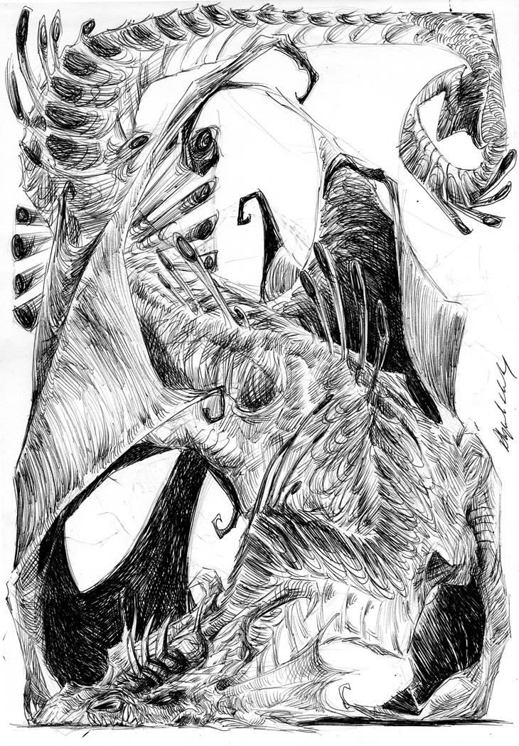 ball point dragon sketch by Abz-J-Harding