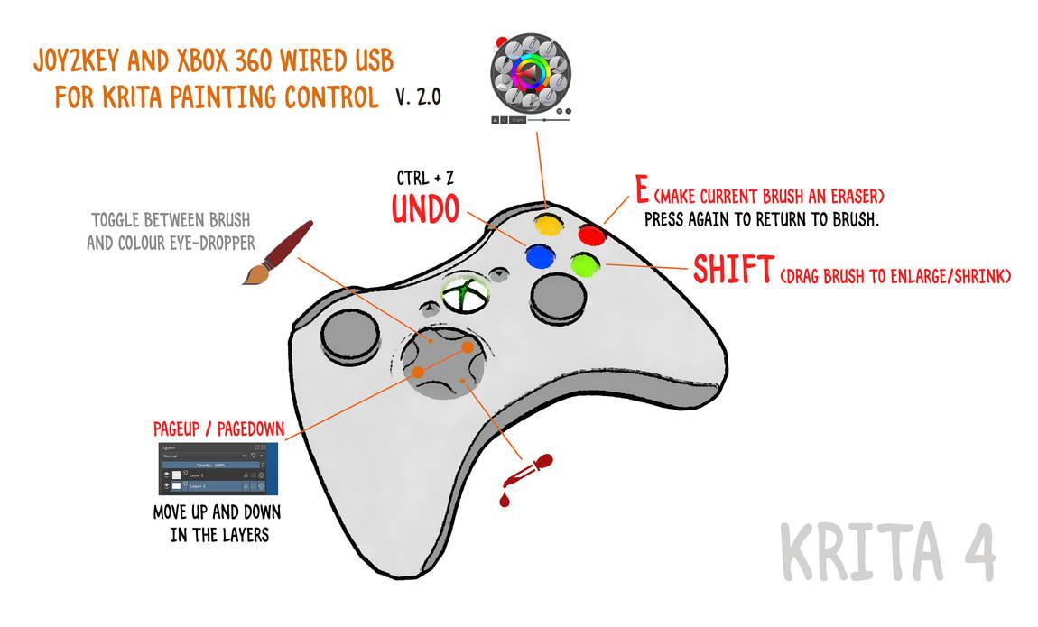 A DIY Krita 4 x controller - Xbox 360 + Joy2Key by Mutinate on