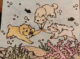 Triple Hi Five (underwater!) by Furreon