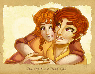 The Fox and the Tabby Cat by RoseyRoseyMae