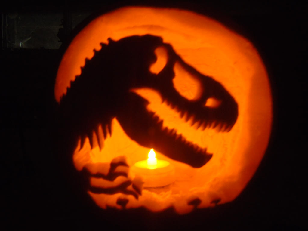 Jurassic park t rex jack o lantern by pappasaurus on