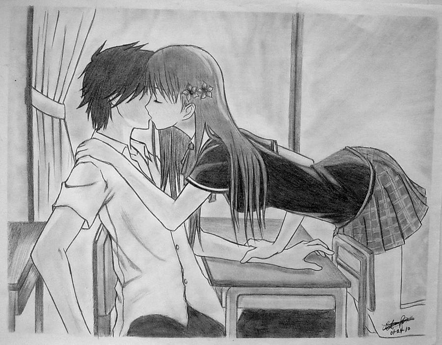 Anime Characters Kissing Drawing : Anime couple kiss by mystic pulse on deviantart