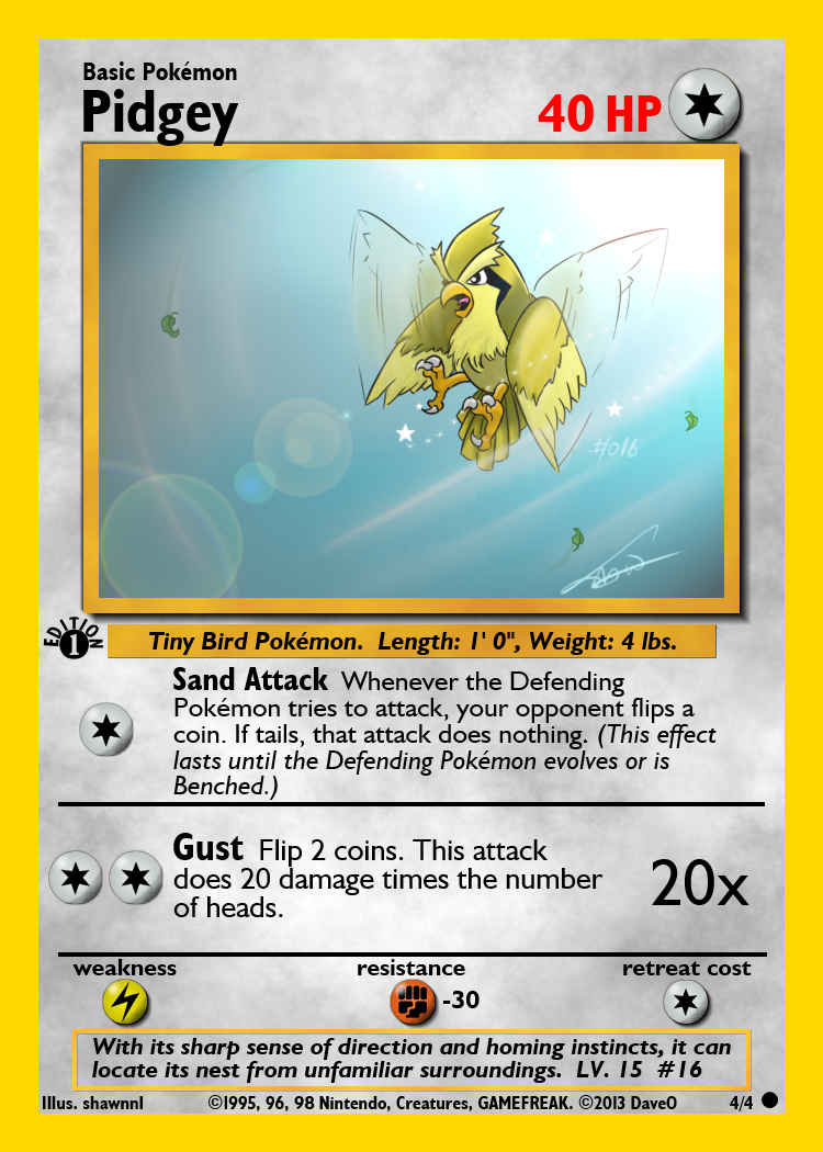 4 of 4 Pidgey Custom Pokemon Card by IAmTheDaveO on DeviantArt