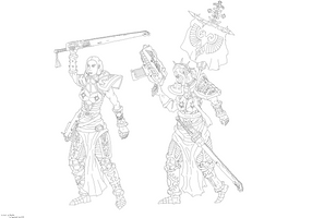 Sisters of Battle - lineart by ChrisSowinski