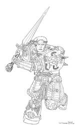Roboute Guiliman lineart by ChristopherLine
