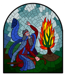 Moses in front of burning bush by ChristopherLine