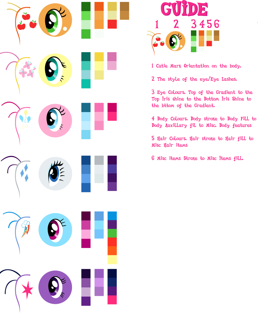 Pony Vector Colour Guide by GuruGrendo