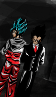 Goku and Vegeta in suits by ClearlyAnArtist