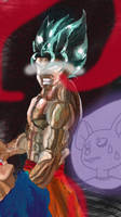 Mad SSB Goku with Evil Energy by ClearlyAnArtist