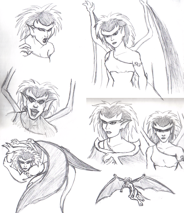 Demona practice sketches by Aureawolf