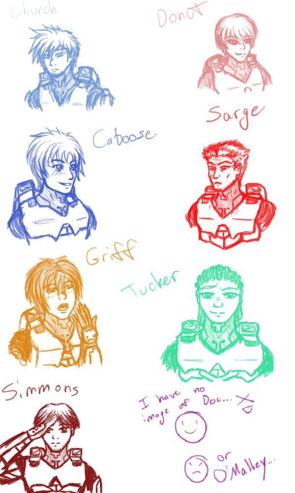 The Red vs Blue gang by Aureawolf