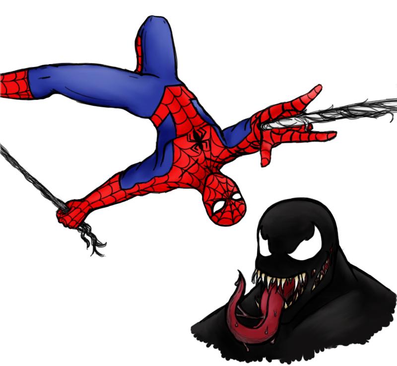 Spider-Man and Venom by Aureawolf