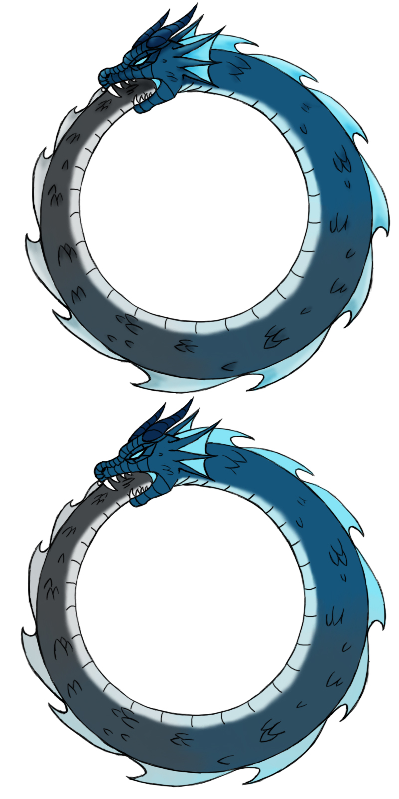 Blue Ouroboros Tattoo by Aureawolf