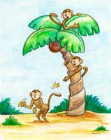 Monkey Food Fight by spiraln