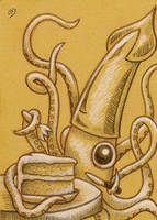 Squid Cakes - ATC by spiraln