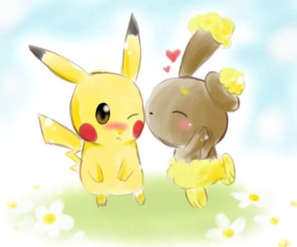 Buneary kissing pikachu by yellowhima on DeviantArt