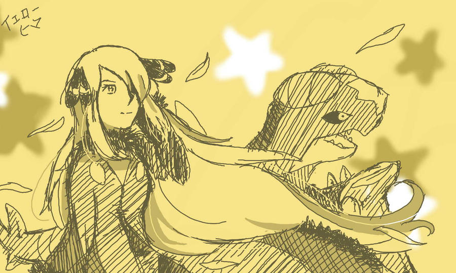 Cynthia and Garchomp Sketch by yellowhima