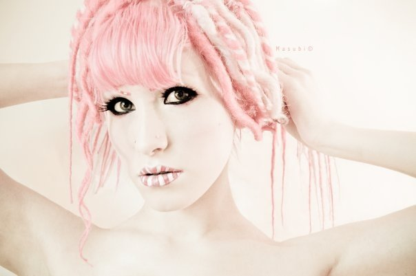 Pink striped lips. by Ryo-Says-Meow