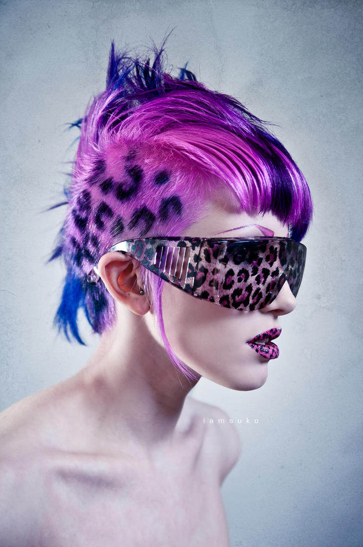 pink leopard print hair and lips by Ryo-Says-Meow