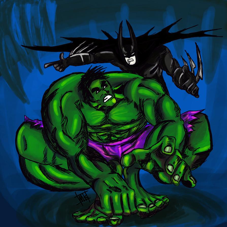 Batman and Hulk by Mkemaster