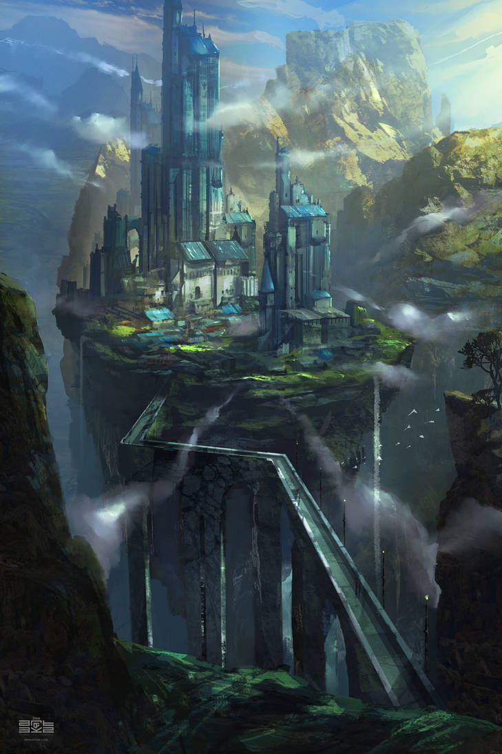 Castle on the rock: Concept Art Process by Byzwa-Dher