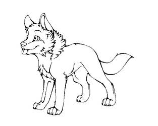 Wolf Pup Lineart by machinewolf2