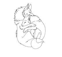 Free Wolf Couple Lineart by machinewolf2