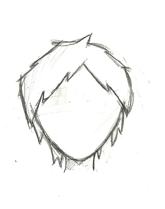 Anime Boy Head And Hair Outline By CalyD