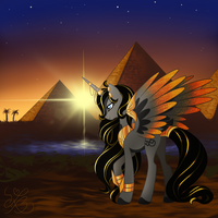 Egyptian Pony Comission (with background) by MyHandsAreCrazy