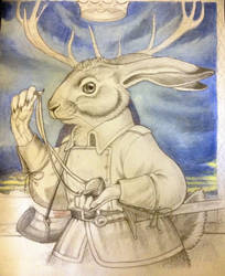 Basil Stag Hare - sky colored