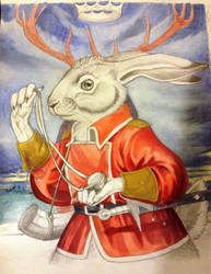 Basil Stag Hare in Red Satin